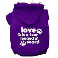 Mirage Pet Products Love is a Four Leg Word Screen Print Pet Hoodies Purple Size XXXL (20)