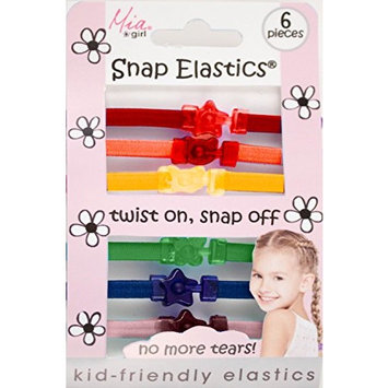 Mia Snap Elastics-Kid Friendly Flat Elastic Rubberbands For The Hair-Twist On, Snap Off! No MORE Crying-Less Damaging & Breakage-Cute, Beautiful Rainbow Colors With Fun Shaped Connectors (6 pcs)