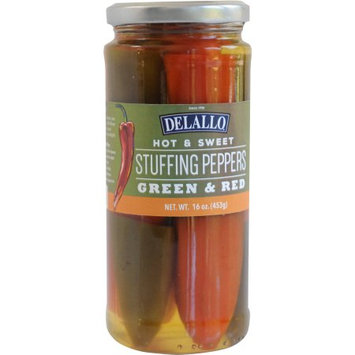 DeLallo Hot & Sweet Green & Red Stuffing Peppers, 16 oz