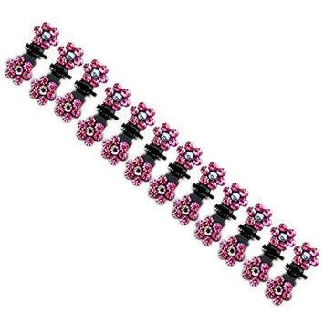 12pcs Crystal Rhinestone Assorted Bangs Mini Hair Claw Clip Hair Pin Flower Accessories for Girl Women Baby