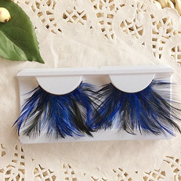 Blue with Black Colorful Party Stage Feather False Eyelashes Eye Lashes for Halloween