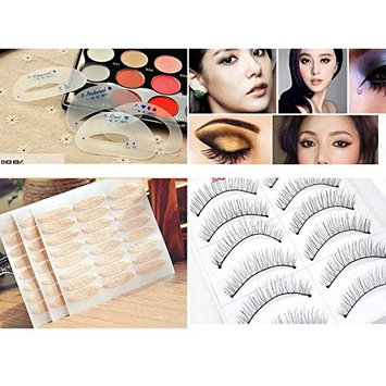 Professional Eye 3 in1 Beauty Makeup Eye shadow Guide Template Stencil Drawing Guide with Double Eyelid Tape Self Adhesive Sticker with Nautral Fake Eyelashes Extension Set AOSTEK(TM)
