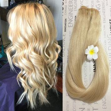 Blonde Hair Extensions Human Hair #613 14 inch 70g Fine Hair Full Head Silky Straight Remy Hair []