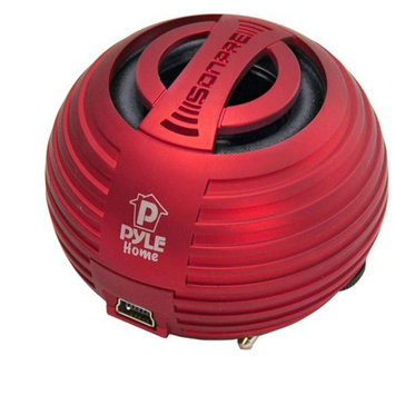 PyleHome PMS8R Bass Expanding Chainable Rechargeable Mini-Speaker - Red