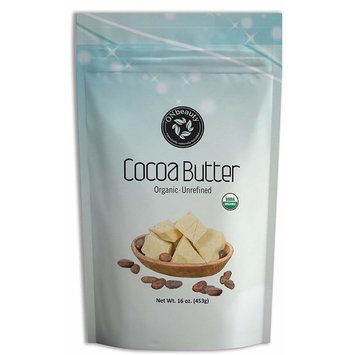 USDA Certified Organic Cocoa Butter by ONbeauty - 8 Oz, FOOD GRADE - Raw, Unrefined