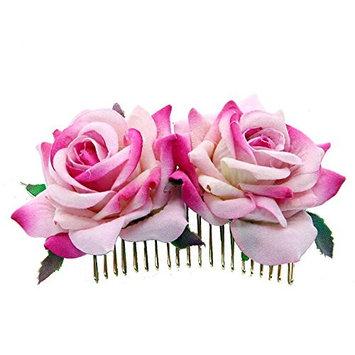Bridal Hair Clip, Rose Flower Comb Hair Comb Pins Handmade Wedding Accessories Jewelry Women Prom Headpiece