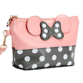 Tracy-B Cartoon Leather Travel Makeup Handbag, Cute Portable Cosmetic bag Toiletry Pouch for Women Teen Girls Kids
