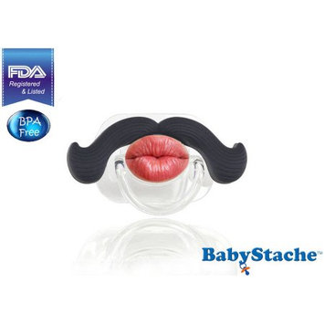 3b Global BabyStache Kissable Professional Pacifier, Black