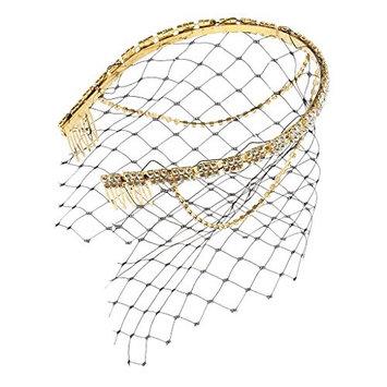 Homyl Retro Sequins Headband with Face Net Comb Wedding Church Forehead Headwear