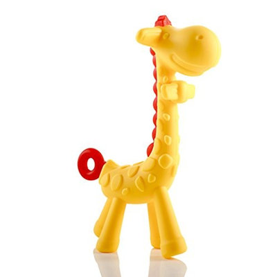 Asani Giraffe Baby Teether Toy   Natural & Organic BPA-Free Silicone   Textured Infant Teething Relief   Freezable and Dishwasher-Safe   Cute Chew Toys for Boys, Girls, Babies, Toddlers, Newborn
