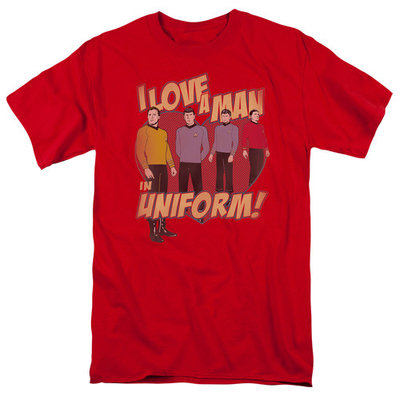 Star Trek/Man In Uniform S/S Adult 18/1 Red Cbs645 [clothing_size_type: clothing_size_type-regular]