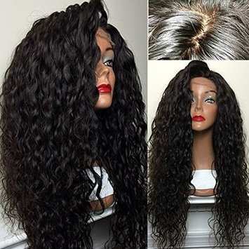Hot! PlatinumHair Top Quality Fiber Loose Curly Wigs Synthetic Lace Front Wigs 180% Density Black Color Heat Resistant Synthetic Hair Wigs24-26