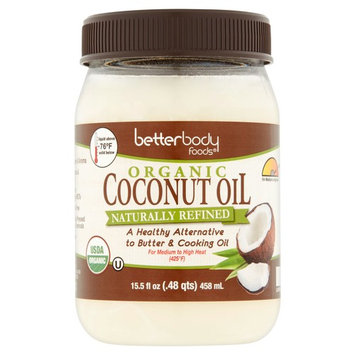 Betterbody Foods Organic Naturally Refined Coconut Oil, 15.5 fl oz, 6 pack