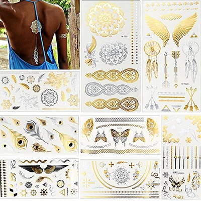 8 Sheets Flash Metallic Gold Temporary Waterproof Jewelry Decal Body Makeup Wing Butterfly