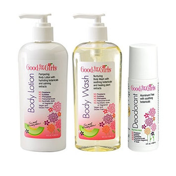 Good For You Girls Body Care Trio, Body Wash, Body Lotion, Deodorant made with pampering plant based ingredients, 8oz and 3oz by Good For You Girls