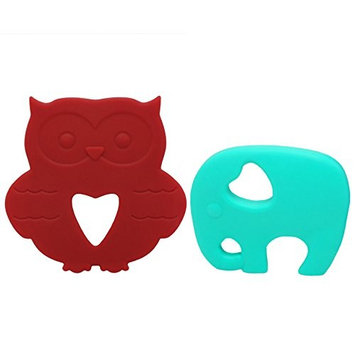 AILAMS Baby Teething Ring ,Toddlers Silicone Teether Toy (Turquoise Elephant and Red Owl)