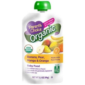 Parent's Choice Baby Food, Stage 2, Organic Banana Pear Mango & Orange, 3.5oz Pouch