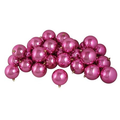 12ct Shiny Pretty in Pink Shatterproof Christmas Ball Ornaments 4