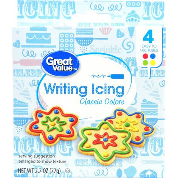 Wal-mart Stores, Inc. Great Value Writing Icing, Classic Colors, 4 tubes, 2.7 oz