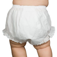Christening Day Baby Girls White Double Seat Diaper Cover Bloomers