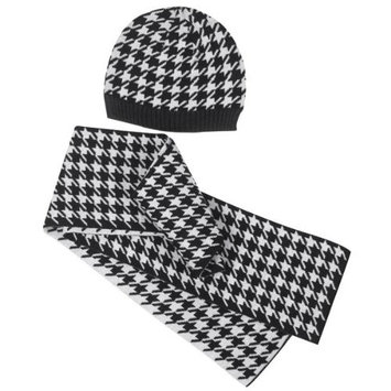 East Side Collection Oxford Houndstooth Hat and Scarf Owner's Set Color: Black/White