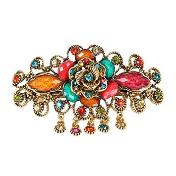 GSM Accessories Womens Vintage Rhinestone Resin Rose Large Alloy Hair Clips Barrettes HC139-Multicolor
