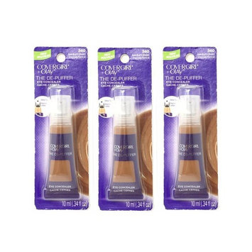 3x CoverGirl + Olay 0.34 oz Medium/Deep 360 The De-Puffer Eye Concealer Tube - 046200012306