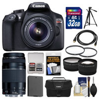 Canon EOS Rebel T6 Wi-Fi Digital SLR Camera & EF-S 18-55mm IS II Lens with 75-300mm III Lens + 32GB Card + Case + Battery + Tele/Wide Lenses + Kit