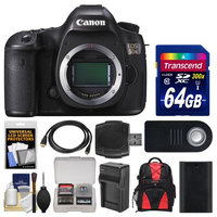 Canon EOS 5DS Digital SLR Camera Body with 64GB Card + Backpack + Battery & Charger + Remote + Kit