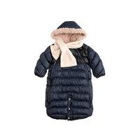 7AM Enfant Doudoune One Piece Infant Snowsuit Bunting, Midnight Blue/Black, Small