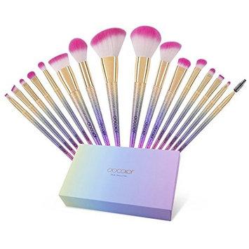 Docolor Makeup Brushes, 16pcs Professional Make up Brush Set Foundation Blending Blush Concealer Eye Shadow with Rainbow Box
