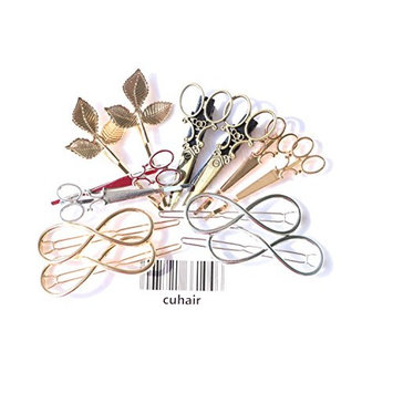 cuhair 12pcs Metal Leaves Scissors Punk Vintage Women Girl Hair Clip Barrettes Hair Accessories