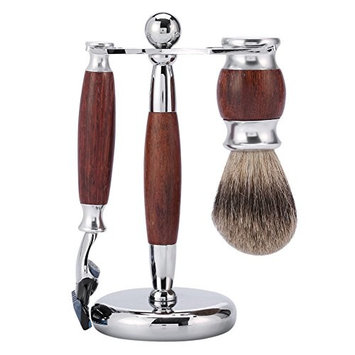 SMITH CHU Premium Luxury Shaving Gift Set for Men, 100% Badger Brush, 5 Layers Manual Razor and Brush Stand - Great Gift Idea for Father Husband or Boyfriend
