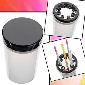 Beauticom Nail Brush Holder and Cleanser Bottle with Black Lid