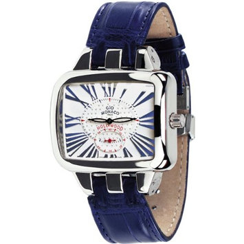 Gio Monaco Women's 218-A Hollywood Rectangular Blue Alligator Leather Watch
