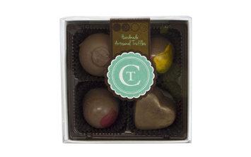 Chocolate Therapy 4-Piece Assorted Milk Chocolate Truffles Gift Box, 3.2 Oz