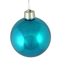 Huge Shiny Turquoise Blue Shatterproof Christmas Ball Ornament 12