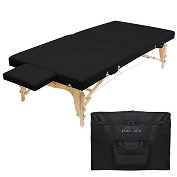 Saloniture Portable Physical Therapy Massage Table - Low to Ground Stretching Treatment Mat Platform - Black