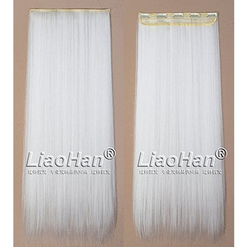 Straight Long Clip in White Hair Extensions 3/4 Full Head Synthetic Hair Clip in on White Hairpieces