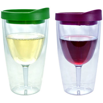 Southern Homewares Merlot and Verde Insulated Wine Tumbler, Double Wall Acrylic, 2pk
