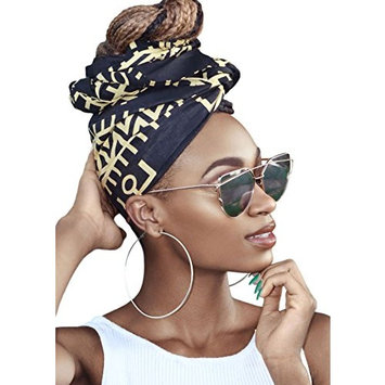 Krystal Black and Cream African Headwrap