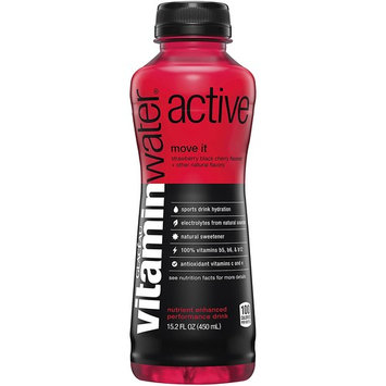 vitaminwater active Move It, Strawberry Black Cherry Flavored Sports Drink, 15.2 Fluid Ounce (Pack of 12)