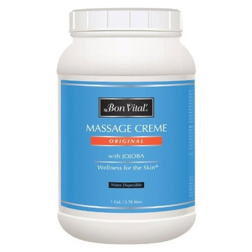 Bon Vital' Original Massage Crème for a Versatile Massage Foundation to Relax Sore Muscles & Repair Dry Skin, Revitalize Skin and Lock in Moisture, Allows for Muscle Manipulation, 1 Gallon Jar [Original]