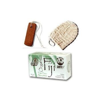 Ayate Bath Mitt Body Scrub Skin Exfoliator and Tea Tree/Spearmint Essential Oils Barsoap with 100% Virgin Coconut Oil