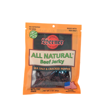 Werner Gourmer Meat Snacks Werner 3oz. All Natural Sea Salt & Pepper Beef Jerky 4/6ct.