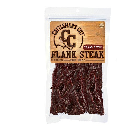 Cattleman's Cut Texas Style Flank Steak, Beef Jerky, High Protein Snack, 9 Ounces