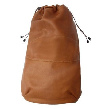 Drawstring Leather Shoe Bag in Saddle