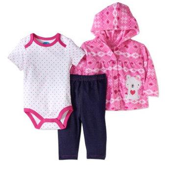 Bon Bebe Newborn Baby Girl MicroFleece Jacket, Pant & Bodysuit 3pc Set