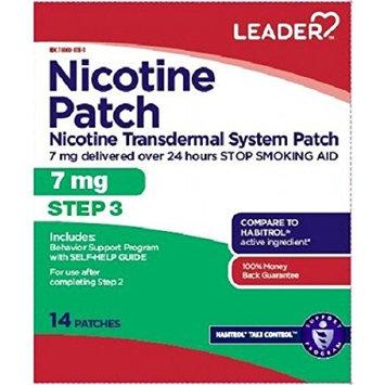 Leader Step 3 Nicotine Transdermal Patch 7Mg/24Hr, 14 Count per Box (2 Pack)