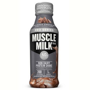Muscle Milk Pro Series Knockout Chocolate Protein Shake 14 Oz Plastic Bottles - Pack of 12